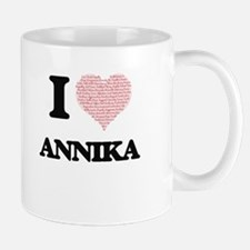 I love Annika (heart made from words) design Mugs