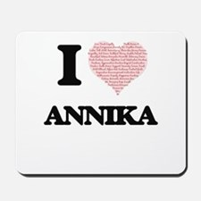 I love Annika (heart made from words) de Mousepad