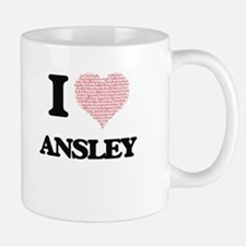 I love Ansley (heart made from words) design Mugs