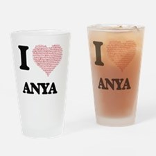 I love Anya (heart made from words) Drinking Glass