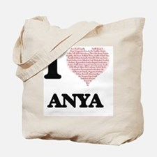 I love Anya (heart made from words) desig Tote Bag