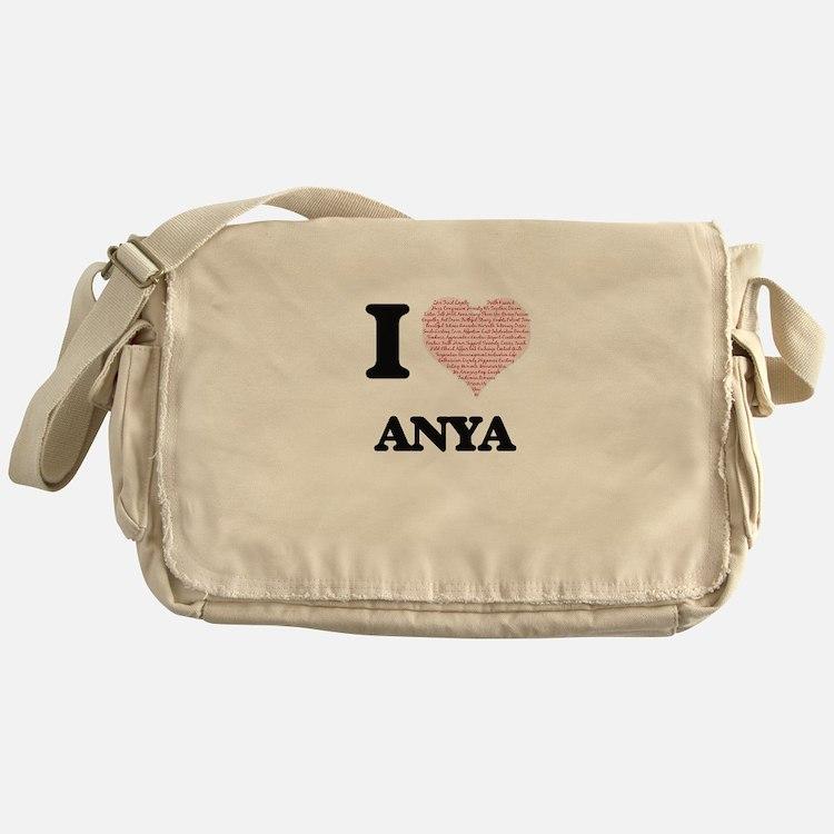 I love Anya (heart made from words) Messenger Bag