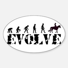 Horse Rider Caveman Oval Decal