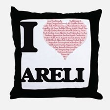 I love Areli (heart made from words) Throw Pillow