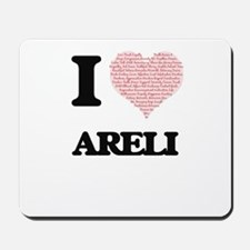 I love Areli (heart made from words) des Mousepad