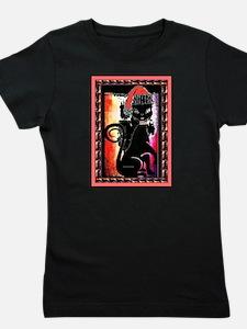 Santa Diva Cat Black Dark Girl's Tee