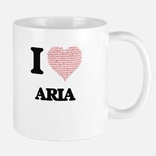 I love Aria (heart made from words) design Mugs