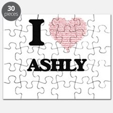 I love Ashly (heart made from words) design Puzzle