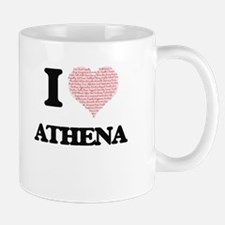 I love Athena (heart made from words) design Mugs