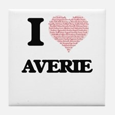 I love Averie (heart made from words) Tile Coaster