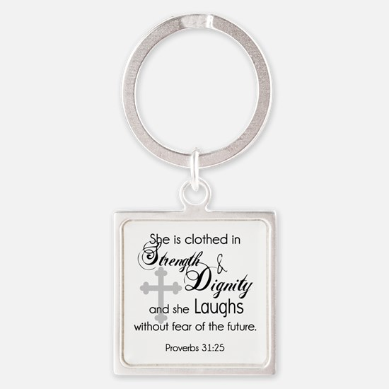 Funny Bible women Square Keychain