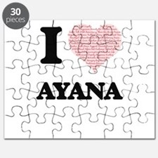 I love Ayana (heart made from words) design Puzzle