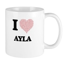 I love Ayla (heart made from words) design Mugs