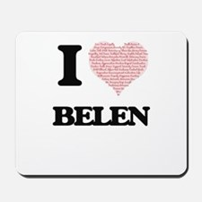 I love Belen (heart made from words) des Mousepad