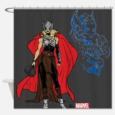 Female Thor Standing Shower Curtain