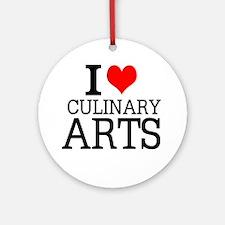 I Love Culinary Arts Round Ornament