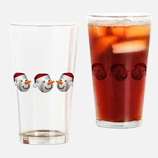 Christmas Baseball Snowman Drinking Glass