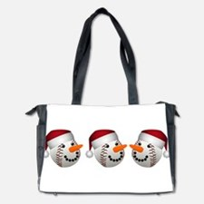 Christmas Baseball Snowman Diaper Bag