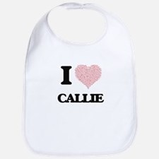 I love Callie (heart made from words) design Bib