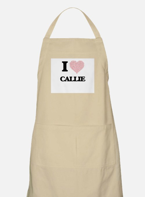 I love Callie (heart made from words) design Apron