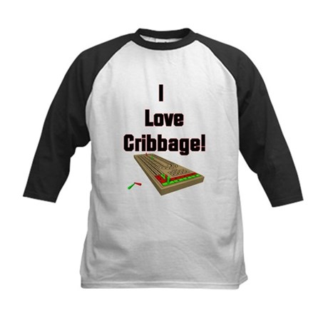 I Love Cribbage Kids Baseball Jersey