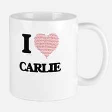 I love Carlie (heart made from words) design Mugs