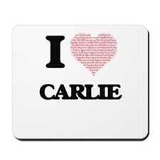 I love Carlie (heart made from words) de Mousepad