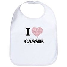 I love Cassie (heart made from words) design Bib