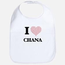 I love Chana (heart made from words) design Bib