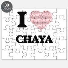 I love Chaya (heart made from words) design Puzzle