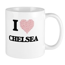 I love Chelsea (heart made from words) design Mugs