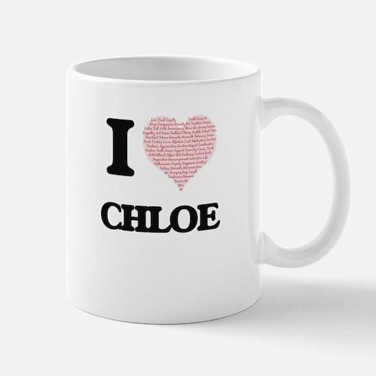 I love Chloe (heart made from words) design Mugs