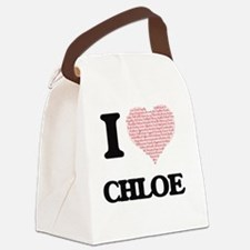 I love Chloe (heart made from wor Canvas Lunch Bag