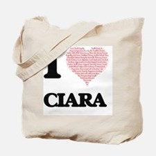 I love Ciara (heart made from words) desi Tote Bag
