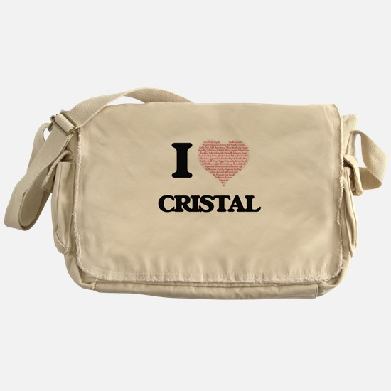 I love Cristal (heart made from word Messenger Bag