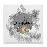 Firefighter Tattoo Tile Coaster