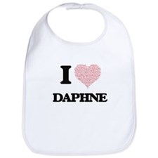 I love Daphne (heart made from words) design Bib
