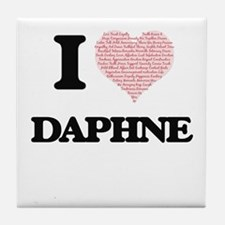 I love Daphne (heart made from words) Tile Coaster