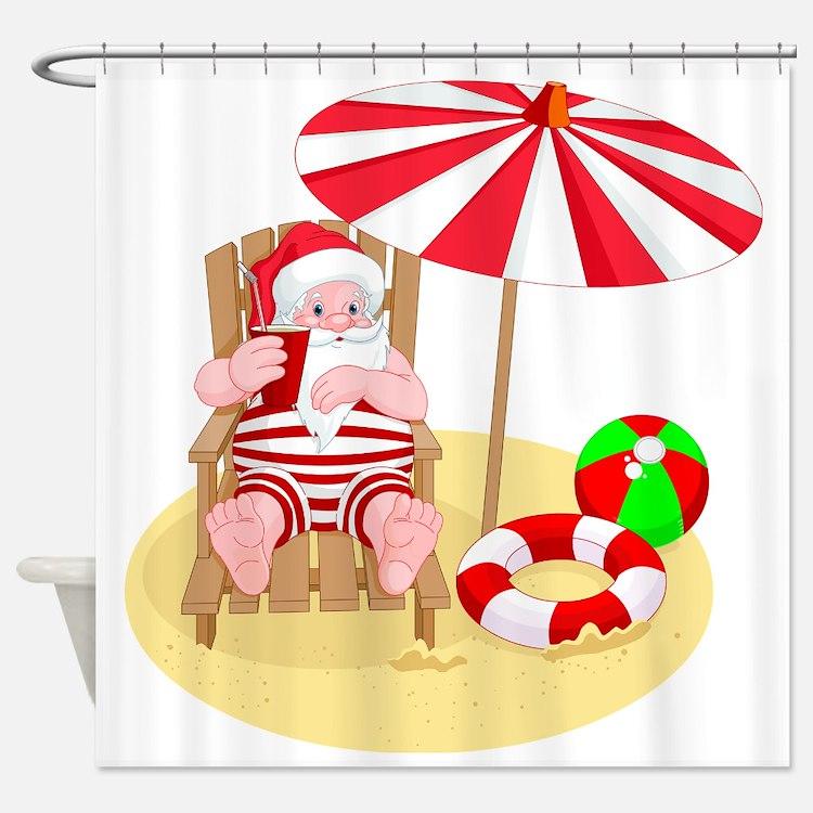 Tropical Santa Shower Curtains | Tropical Santa Fabric Shower ...