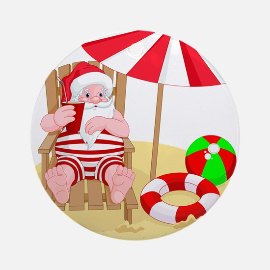 beach santa claus Round Ornament