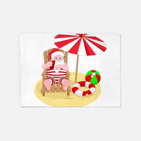 beach santa claus 5'x7'Area Rug