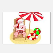 beach santa claus Postcards (Package of 8)