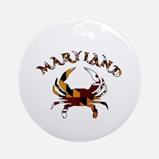 Maryland Flag Crab Round Ornament