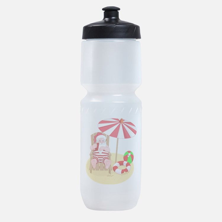 beach santa claus Sports Bottle