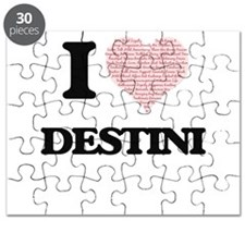 I love Destini (heart made from words) desi Puzzle