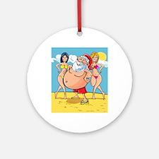 bikini beach santa claus Round Ornament
