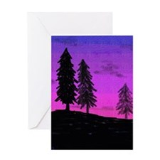 Silhouette Trees Greeting Cards