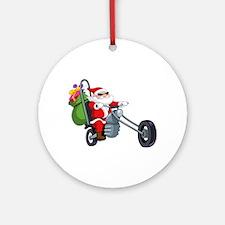 biker badass santa claus Round Ornament