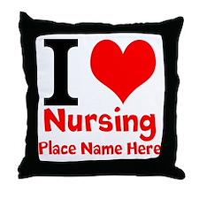 I Love Nursing Throw Pillow