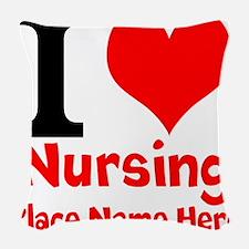 I Love Nursing Woven Throw Pillow